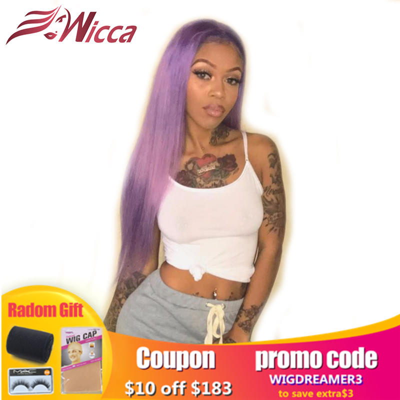 Wicca Purple Color 13x6 Lace Front Human Hair Wigs With Baby Hair Pre Plucked Brazilian Remy Straight Wigs