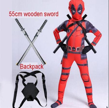Deadpool Costume For Kids Child Boys Spandex Suit Party Halloween Cosplay Costume With Swords Gloves