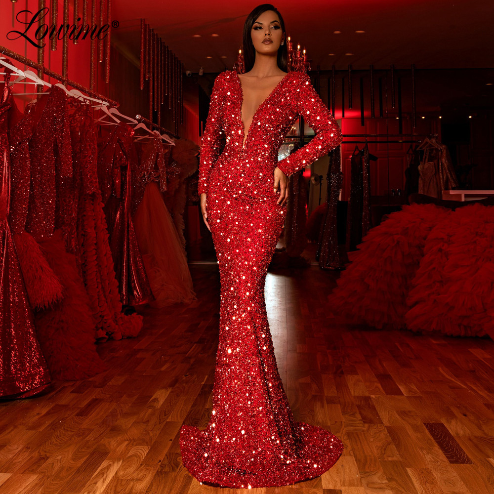 Deep V Neck Red Evening Dress Special Occasion Women Party Dresses Beads Prom Gowns 2020 Turkish Islamic Robe De Soiree