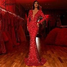 Głębokie V Neck czerwona suknia specjalna okazja kobiety sukienek koraliki suknie na bal maturalny 2020 turecka szata muzułmańska De Soiree