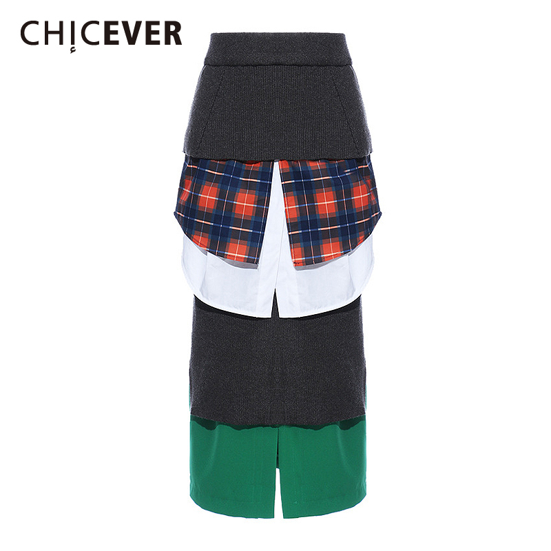 CHICEVER Patchwork Plaid Women Skirt High Wast Split Hit Color Irregular Skirts For Female Fashion Clothing 2020 Spring Tide