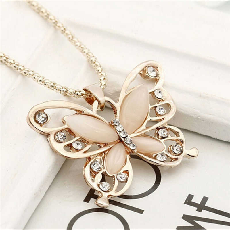 Rose Emas Kristal Akrilik 4 Cm Big Butterfly Liontin Kalung 70 Cm Rantai Panjang Sweater Perhiasan untuk Wanita Hadiah