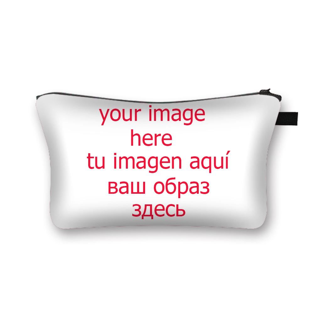 Custom Your Image / Logo / Name Cosmetic Bag Women Makeup Bags Ladies Cosmetic Cases Female Toiletries Organizer Storage Bags