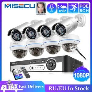 Image 1 - MISECU 8CH 1080P POE NVR kiti güvenlik CCTV sistemi açık kapalı ses kayıt IP kamera su geçirmez P2P Video gözetim seti