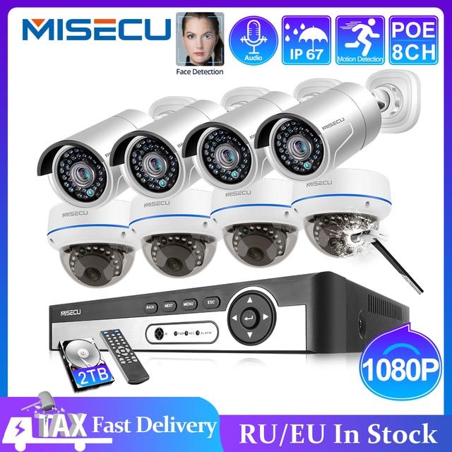 MISECU 8CH 1080P POE NVR kiti güvenlik CCTV sistemi açık kapalı ses kayıt IP kamera su geçirmez P2P Video gözetim seti
