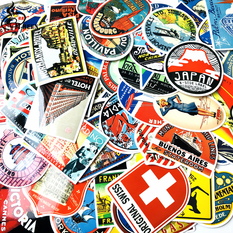 100Pcs Mixed Retro Travel Hotel Logo Country Stickers For Suitcase Bike Skateboard Book Laptop Sticker Hydro Vsco Girl