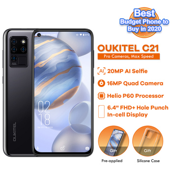 OUKITEL C21 6.4'' FHD+ Hole Punch Screen Mobile Phone 20MP Camera Helio P60 Octa Core 4GB 64GB 4G Smartphone 4000mAh 2