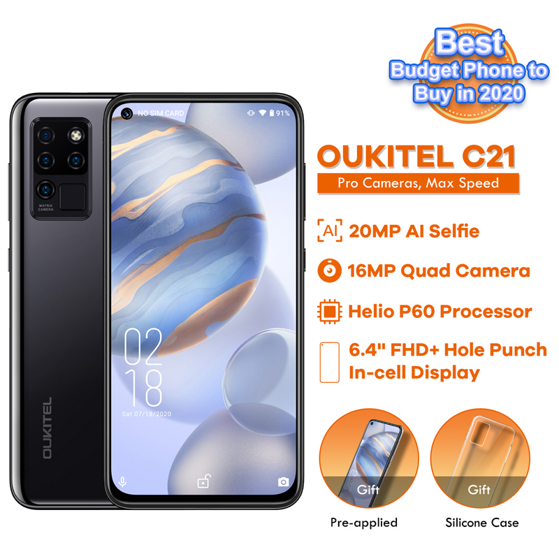 OUKITEL C21 Quad Camera 20MP Selfie Octa Core Helio P60 4+64GB Phone 6.4'' FHD+ Hole Punch Screen 4000mAh 4G Celular Smartphone