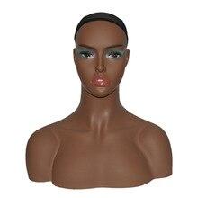 купить New 1Pc Realistic Mannequin Head Fiberglass Hat Glasses Diamond Necklace Display Mold Stand Torso Wig DC24 дешево