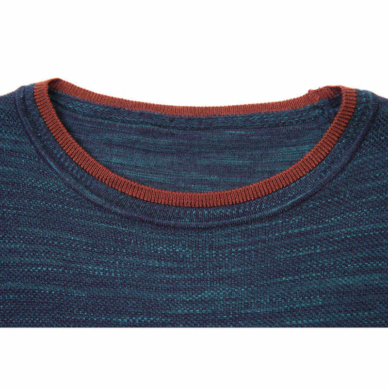 YUSHU Autumn Casual Fashion Mens O-neck Sweater Striped Knitted Pullover Sweaters Mens Wear Slim Fit Knitwear Fashion Clothing
