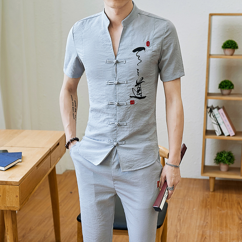 Men Tracksuits Vintage Man Clothing 2020 Spring Wear Long Sleeve Street Wear Male Travel Set Linen Long Pants In Men's Sets