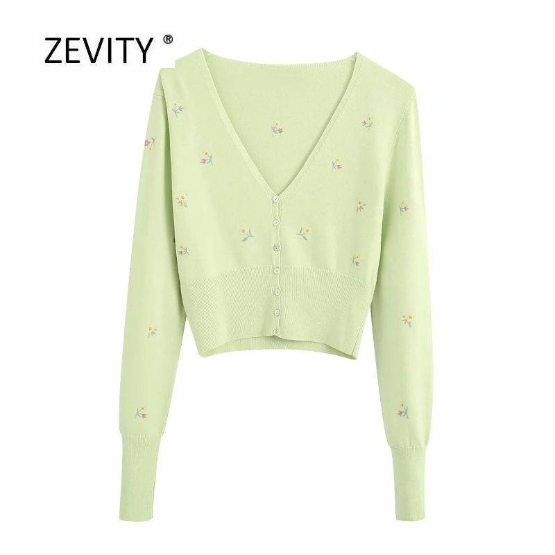 New Women Fashion V Neck Floral Embroidery Knitted Casual Slim Thin Sweater Ladies Long Sleeve Buttons Leisure Sweater Tops S260