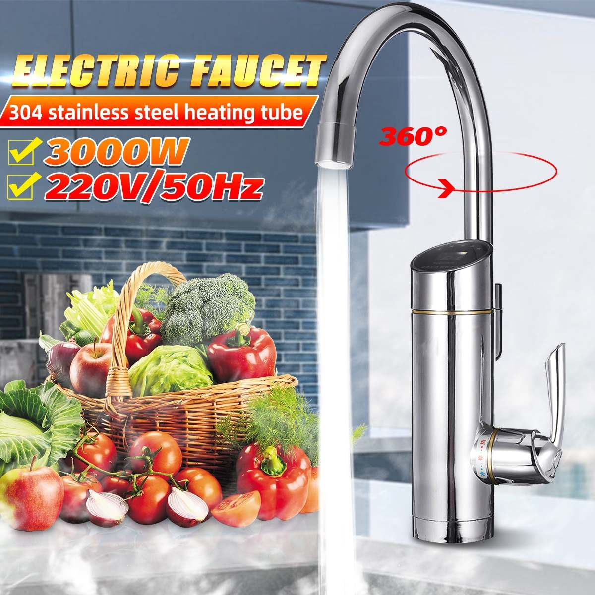 3000W Faucet Water-Heater Electric-Tap 360 Degrees Kitchen Faucet Tankless Instant Hot Water Tap Temperature Display