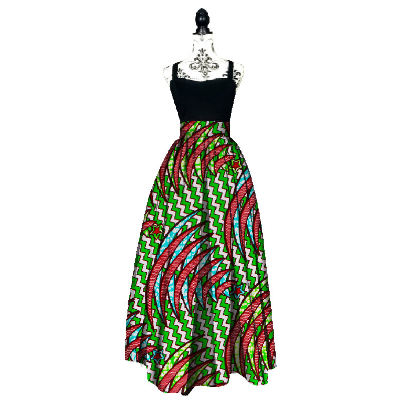 Fashion Women African Print Long Skirt Ankara Dashiki High Waist A Line Maxi Long Umbrella Skirt Ladies Clothing BRW WY1744