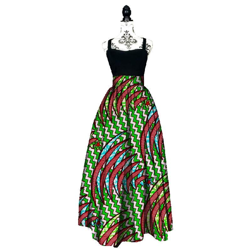 Mode kvinnor afrikansk tryck Lång kjol Ankara Dashiki Hög midja A Line Maxi Lång paraply kjol Damkläder BRW WY1744