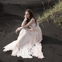 Verngo A line Gelinlik Güzel 3D Çiçek Plaj Gelin Elbise Büyüleyici Prenses Boho Gelinlikler Suknia Slubna