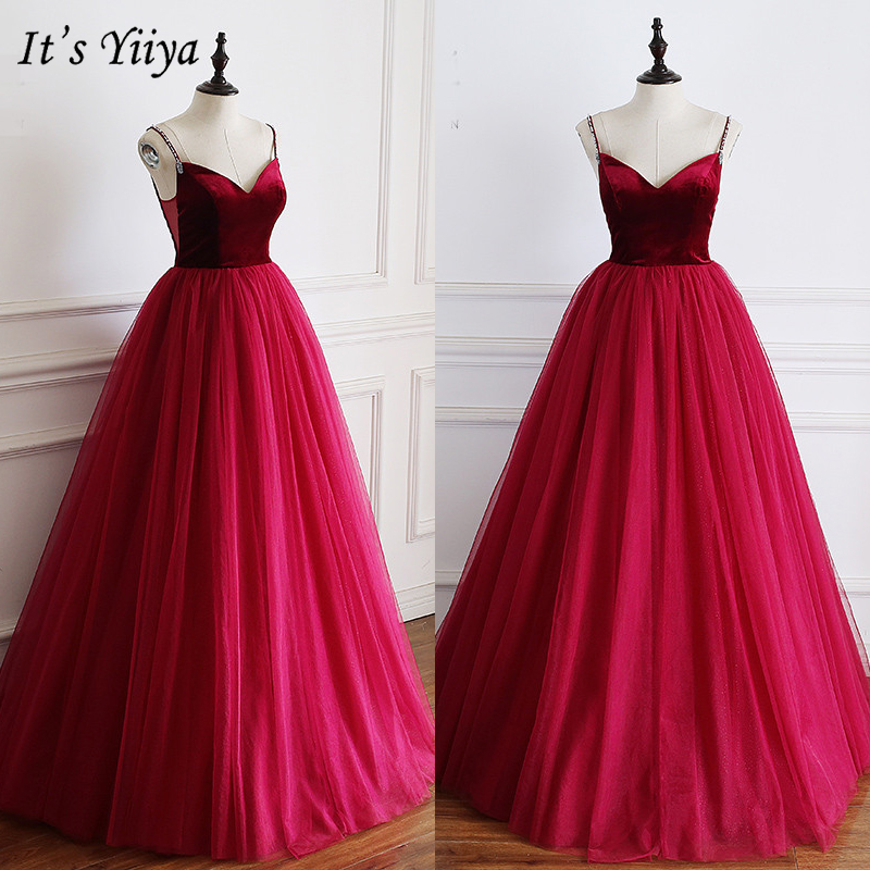 It's Yiiya Evening Dress 2019 Burgundy Spaghetti Strap Party Formal Dresses Sexy V-Neck Elegant Long Ball Gowns Plus Size E940