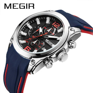 Image 2 - Top Luxury Brand MEGIR Men Sports Watches Mens Quartz Military Analog Clock Man Fashion Rubber Strap Waterproof Wrist Watch