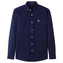 Мужская Повседневная рубашка из ткани Оксфорд 100% хлопка с