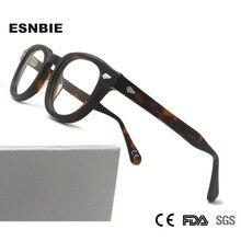 メンズヴィンテージラウンド光学フレームブランドデザイン韓国男性女性アセテート Eyewears 小中 Gafas Miopia Hombre