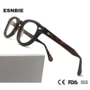 Image 1 - MenS Vintage עגול מסגרת אופטית מותג עיצוב קוריאה משקפיים לגברים נשים אצטט Eyewears קטן בינוני Gafas Miopia Hombre