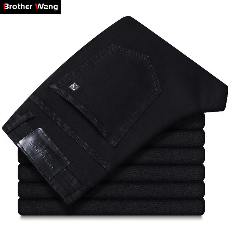 2020 летние новые мужские черные прямые тонкие джинсы расширенные тянущиеся свободные деловые повседневные брюки мужские Брендовые брюки ра...