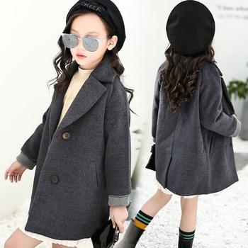2019 Autumn New Girls Wool Coat Kid Girl Jackets Winter Wool Coat For Girls Teens Children Outerwear Windbreaker  5-10 Years Old