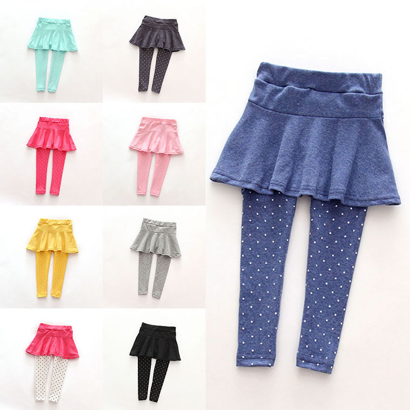 11 Colors Toddler Girl Skirt Trousers Children Pants White Dot Pants Spring Fall Kids Girls Leggings Trousers 2-7T