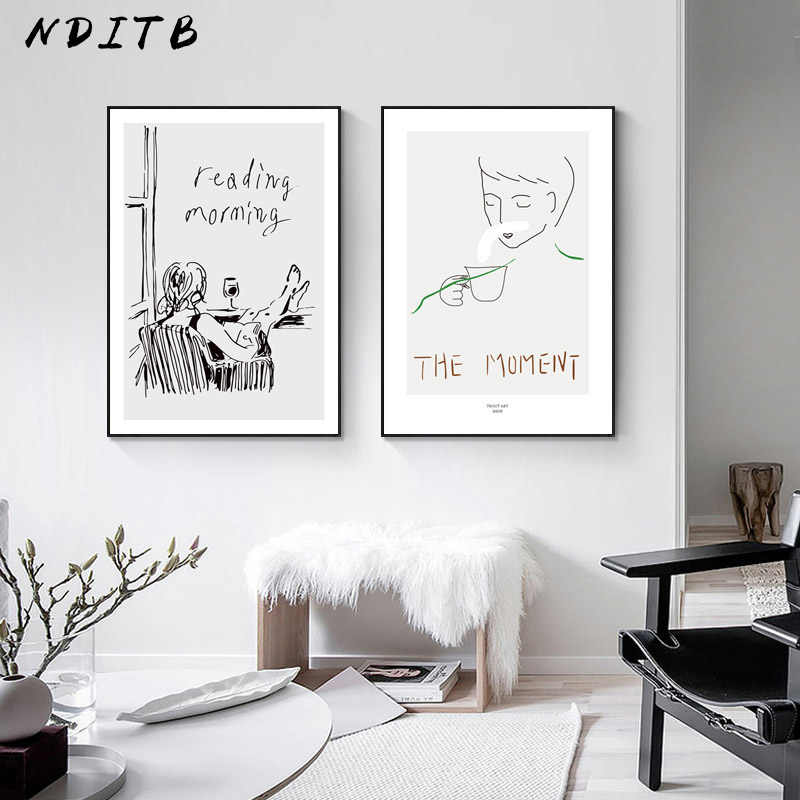 Contemporary Art Line Drawing Wall Poster Black White Abstract Nordic Canvas Print Modern Simple Painting Decorative Picture
