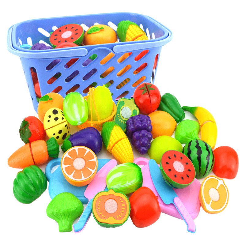 Baby Toddlers Classic Food Kitchen Pretend Toys Plastic Cutting Vegetables Fruits Educational Simulation Fantasy Set Toys
