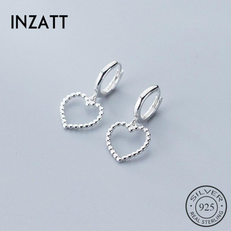 INZATT Real 925 Sterling Silver  Minimalist   Hoop Earrings For Fashion Women Party Hollow Heart Fine Jewelry Cute Accessories