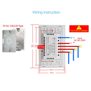 Image 4 - Wifi Smart Light Switch Touch Glass Panel  US Rectangle Wireless Electrical App Remote Voice Control work for Alexa Google Home