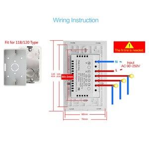 Image 4 - Wifi akıllı işık anahtarı dokunmatik cam Panel abd dikdörtgen kablosuz elektrik App uzaktan ses kontrol çalışması Alexa Google ev için
