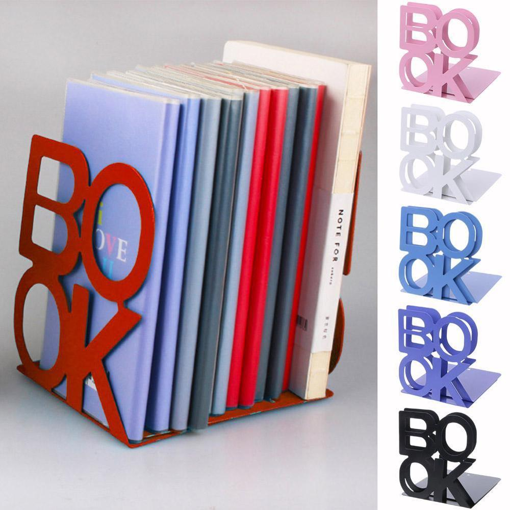 1 Pair Bookend School Metal Stand Stationery Desktop Support Portable Anti-skid Universal Office Holder Organizer Letter