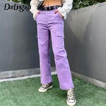 Darlingaga 캐주얼 솔리드 스트레이트 코듀로이 바지 패션 겨울 주머니 바지 하이 웨스트 카고 바지 여성 Capris Pantalones