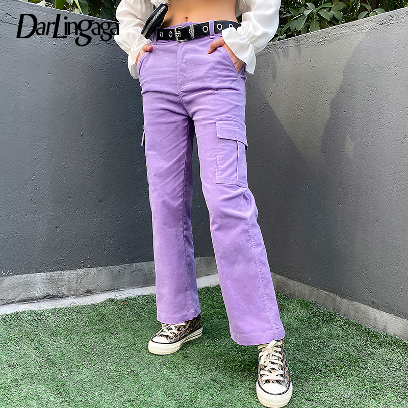 Darlingaga Casual Solid Straight Corduroy Pants Fashion Winter Pockets Trousers High Waist Cargo Pants Women Capris Pantalones
