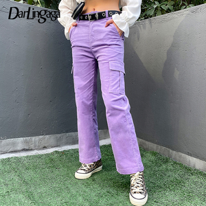 Image 1 - Darlingaga Casual Solid Straight Corduroy Pants Fashion Winter Pockets Trousers High Waist Cargo Pants Women Capris Pantalones