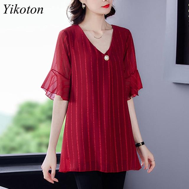 Dress Shirts Summer For Women Blouse Office Clothing Top Female Woman's Blouses Shirt V-Neck Plus Size Feminine Blusas chemise 1