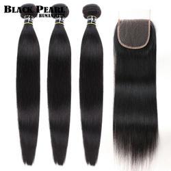 Черный жемчуг прямые волосы пучки с закрытием не Реми человеческие волосы 3 Связки с закрытием перуанские пучки волос с закрытием