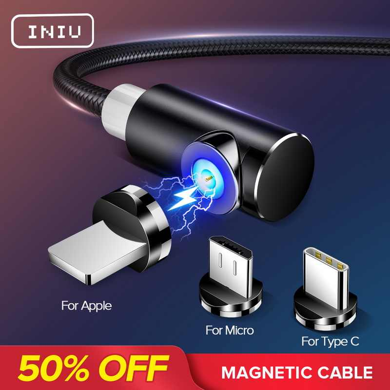INIU 2m Magnetische Kabel Micro USB Type C Adapter Oplader Snel Opladen Voor iPhone XS Max Samsung Lading Magneet android Telefoon Cord