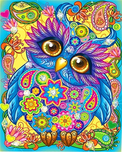 Painting By Numbers Kit Bright Colours Abstract Owl