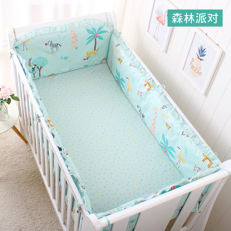 Pure Cotton 5pcs Baby Bedding Set For Girls Boys Breathable Crib Kit Baby Bed Linen Including Crib Bumpers With Filler+Bed Sheet