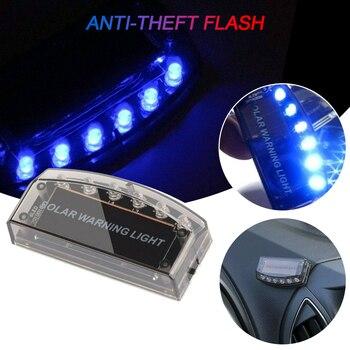 6 LED Car Led Fake Dummy Alarm Warning Light Solar Power Simulated Security Anti-theft Flashing Light Car Burglar Alarm Light недорого