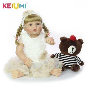 цена на New Design 23 Inch Silicone Full Body Reborn Baby Doll Fashion Lifelike Reborn Girl Princess Doll For Kid Birthday Gift DIY Hair