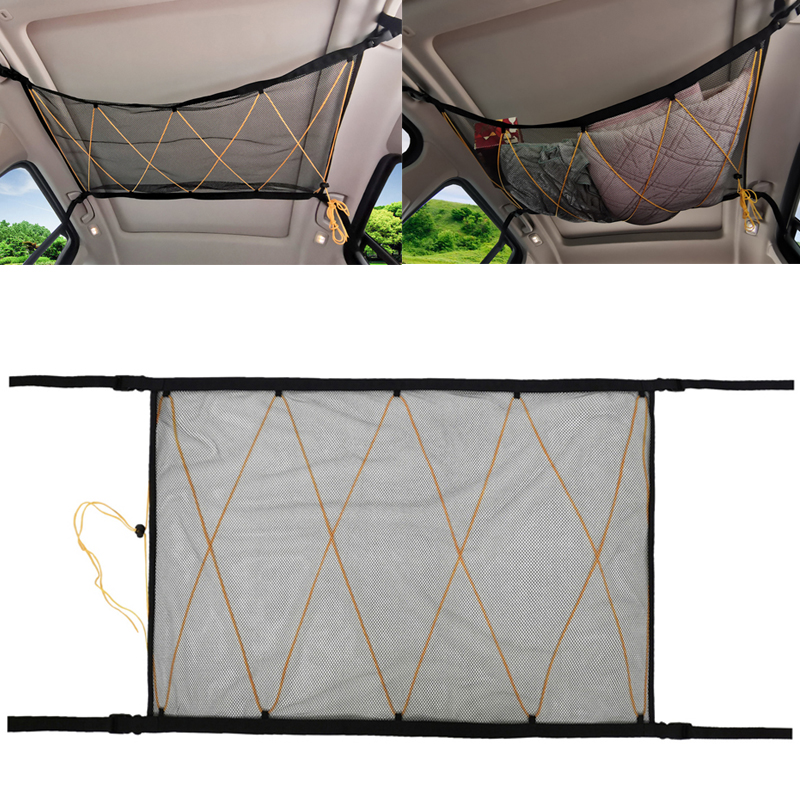 Car Roof Interior Cargo Net Bag For Jeep Van SUV Car Trunk Storage Organizer Sundries Storage Bag Car Ceiling Storage Net Pocket