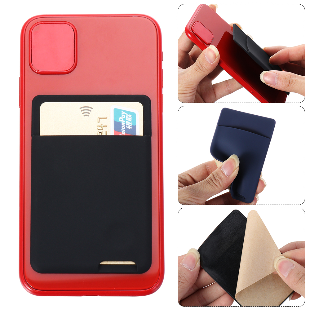 1PC Universal Phone Wallet Case Stick On ID Credit Card Holder Silicone Self Adhesive Cellphone Pocket Sticker Card Bags Purse