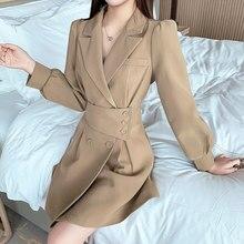 Blazer vestido feminino manga longa mini vestido elegante cintura alta moda coreano roupas de uma peça outono 2020 vestido de escritório feminino
