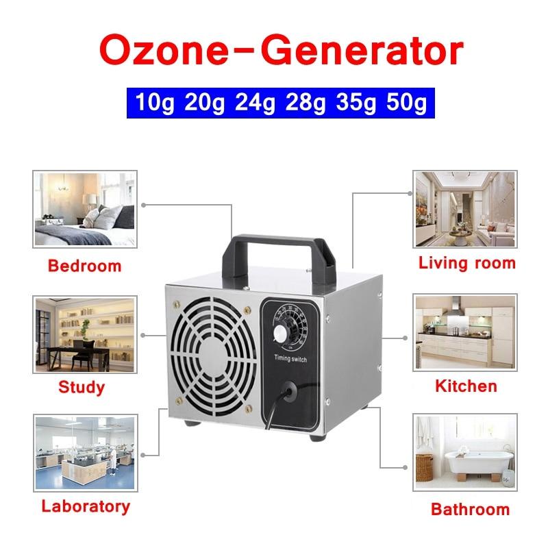 US EU Plug 10g 20g 24g 28g 50g Ozone Generator Air Cleaner Water Deodorizer Sterilization Air Purification Professional Ozonator