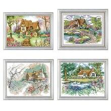 Crosstitch kit With Pattern Village Garden Cottage Landscape Cross Stitch Print Embroidery Kit 14CT Cotton Embroidery Sewing Kit