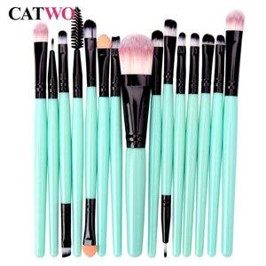 Catwo 15Pcs Makeup Brushes Set Eye Shadow Foundation Powder Eyelash Make Up Brush Cosmetic Beauty Tool Kit Hot Free Shipping